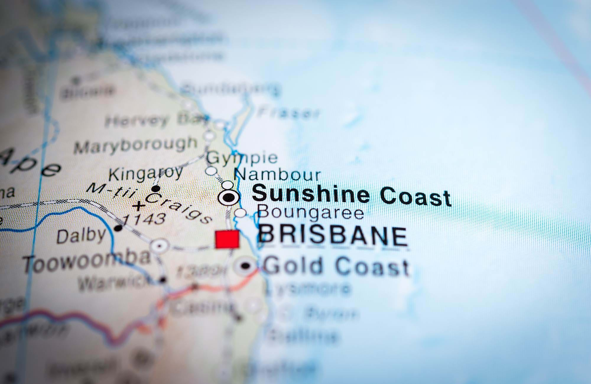kort over sunshine coast lige nord for brisbane i australien