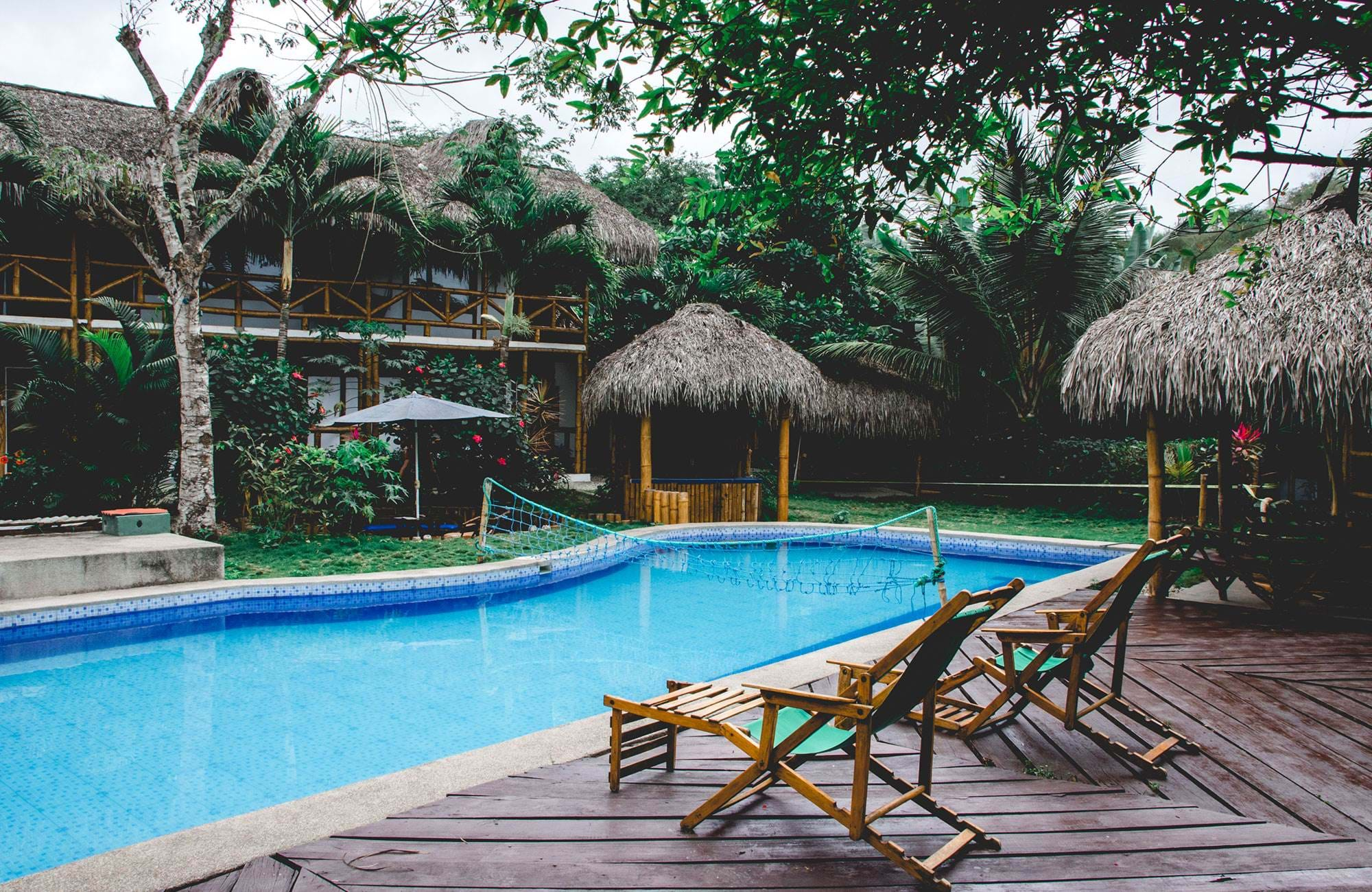 a pool at the dorm in montanita